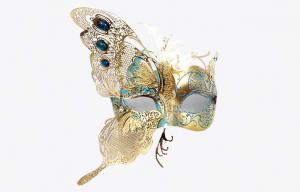 China Plastic Gold Carnival Venetian Masks For Masquerade With Butterfly Shape on sale