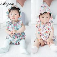 Angou baby Girls Print Flower Rompers Cute Floral Jumpsuits Clothing Sets Romper+Hat 2 pcs