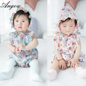 be8c4d63c97d Quality Angou baby Girls Print Flower Rompers Cute Floral Jumpsuits Clothing  Sets Romper for sale