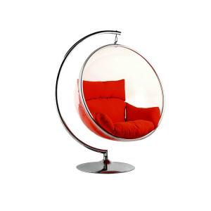 China Hotel Modern Leisure Chair , Acrylic Transparent Shell Fabric Cushion Hanging Bubble Chair on sale