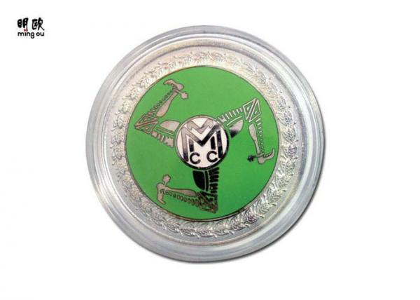 Round Shape Sports Souvenir Coins Silver Green & Black Hard