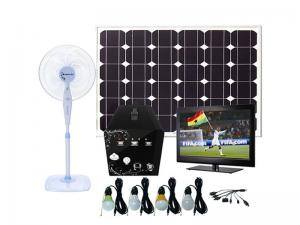 China Solar Home system with 4pcs LED bulbs and TV, 5w-50w mini solar power system DC system on sale