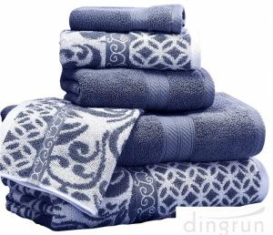 China Luxuriously Soft Quickly Absorbed Yarn Dyed Cotton Jacquard Towel Set on sale