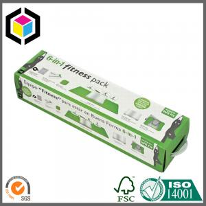 China Long Size Color Printing Corrugated Packaging Carton Box with Plastic Handle on sale