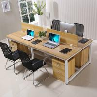 Four Person Use MDF Particle Board Tables / Workstation Dark Wood Computer Desk