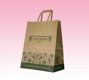 China custom OEM brown kraft paper shopping bag printing with flat paper handle factory on sale