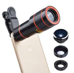 China Universal 6 in 1 tripod 12X Zoom Telescope Fisheye Wide Angel Macro Lens For iPhone SE 6 7S Plus Samsung S8 S7 Redmi on sale
