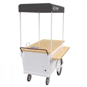 China White Color Coffee Bike Cart Mobile Snack Cart High Carbon Steel Frame CE on sale