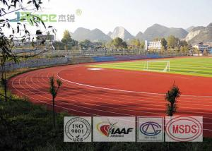 China Safety Rubberized Track Surface , Synthetic Track For Running IAAF Certificated on sale