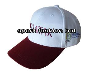 Quality Contrasting two tone white maroon 6 panel baseball cap with curved visor for sale