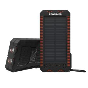 China Black Unique Dual Usb Solar Panel Power Bank 12000mAh With LED Flashlight on sale