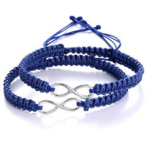 China Custom personalized silver plated infinite8 blue/black/pinck/green/white handmade adjustable bracelet on sale