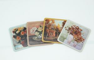 China Square Cork / Metal Tin Coaster For Drinks Protective Coating Outside on sale