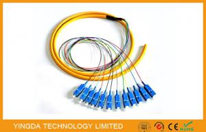 China Industry 12 Core SC Fiber Optic Pigtail Breakout , FTTH SM LSZH SC Pigtail Corning Fiber G652D on sale