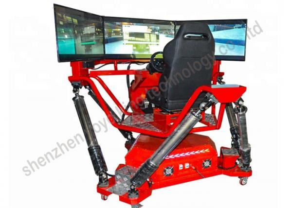 6 Dof Car Driving Racing Simulator Electric 3 Screens Dirt
