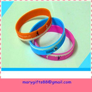 China Eco-friendly glitter printed silicone bracelet wristband on sale