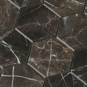 China Hexagon shape chip 3x3 inch tile Dark emperador marble mosaic for wall flooring design on sale