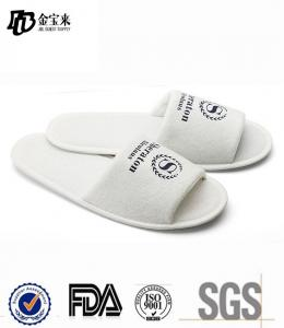 China Best selling white open toe hotel slipper in terry material for hotel on sale