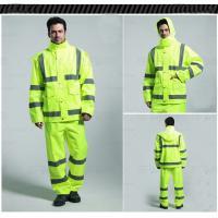 China Waterproof raincoat jacket with rainwear pants high visibility clothing Customize printing logo on sale