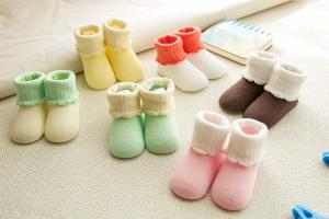 China Top quality custom plain color double cuff cotton baby socks on sale