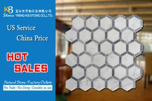 China Natural Stone marble mosaic tiles italian grey and carrara hexagon on sale