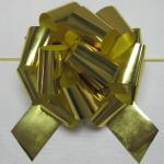 Curva iridescente/metálica do ouro de 5 polegadas do diâmetro de Pom Pom da fita para a embalagem da flor do Valentim