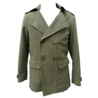 Male Dark Green Microsanded Cotton Coat and Jackets With Military Collar