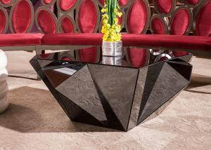 Quality Fashionable Black Modern Wood Coffee Table With Mirror Diamond Decoration For Sale