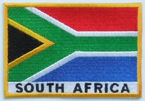 China Stick-on and six thread colors, 50-80mm, 100% twill South Africa national embroidered flag patches on sale
