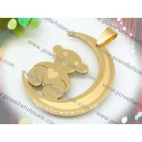 Low MOQ cute gold bear scarf stainless steel cross pendants 2220225-51 with factory price