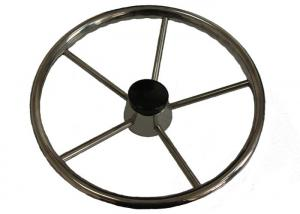 China Stainless Steel Sailboat Steering Wheel Five Spokes And Central Cap Included on sale
