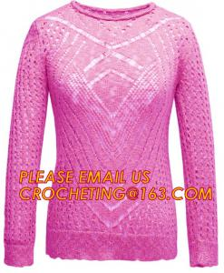 China Long Sleeve Casual Hollow Pointelle Knit Pullover Women Spring Sweater on sale