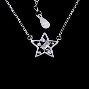 China European Style Star Shape Jewelry / AAA Zircon 925 Silver Necklace For Lady on sale