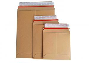 China Brown Rigid Cardboard Envelopes No Plastic Customized Size With Easy Tear Strip on sale