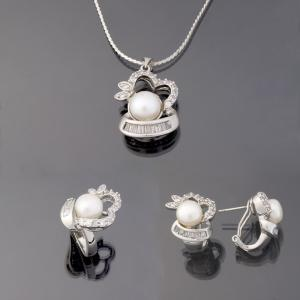 China 925 silver jewellery set with fresh pearl  on sale