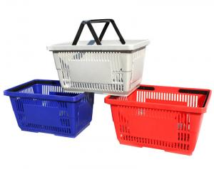 China Multi Colors Supermarket Shopping Baskets / Plastic Shopping Baskets With Hand on sale