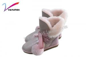 China Girls Sheepskin cute winter snow boots boo pom lace with bowknot on sale