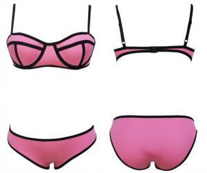 China 2016 wholesale Candy Pink Neoprene Push-up Bandage Bikini fashion swimwear on sale