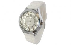 China Daisy 3D Dial Adult Silicone Watch Analog Display Anti Shock Watches on sale