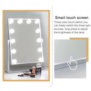 China Smart Touch Screen Desktop Lighted Tabletop Vanity Mirror With Bulbs Around on sale