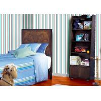 China Removable Blue And Grey Striped Wallpaper Non Woven Wall Covering for Kids Bedroom on sale