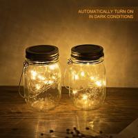 Solar Mason Jar Light ,LED Solar Powered Glass Light, Decorative Outdoor Hanging Lamp ,String Fairy Lantern Warm White 1