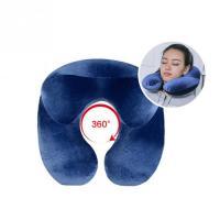 Portable Inflatable U Shape Flight PVC Flocking Travel Pillow Neck Blow Up Cushion