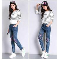Customized Embroidered Flowers Printed Denim Jeans American European Style