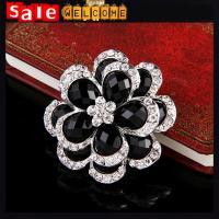 Big Black Crystal Flower Silver Austrian Crystal Oil Drop Enamel Brooches&Pin Jewelry