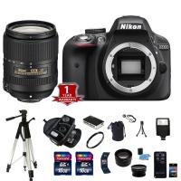 Nikon D3300 DSLR Camera Body 3 Lens Kit Wide Angle 32GB