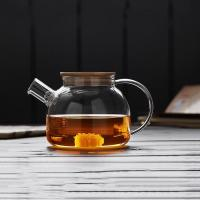 High borosilicate glass thermal insulated tea pot with bamboo lid