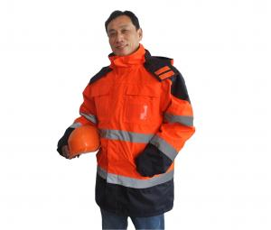 China Executive 5 In 1 Hi Vis Waterproof Jacket With Hood , High Visibility Safety Clothing  on sale