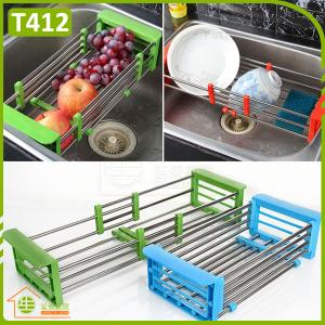 China Stainless Steel Draining Telescopic Sink Shelf Dish Rack For Kitchen Storage on sale