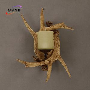 China Maso Distinct Antler Wall Sconce Lamp E14 Screw Lighting Base without Lamp Source Retro Vintage Style for Hotel Lobby on sale